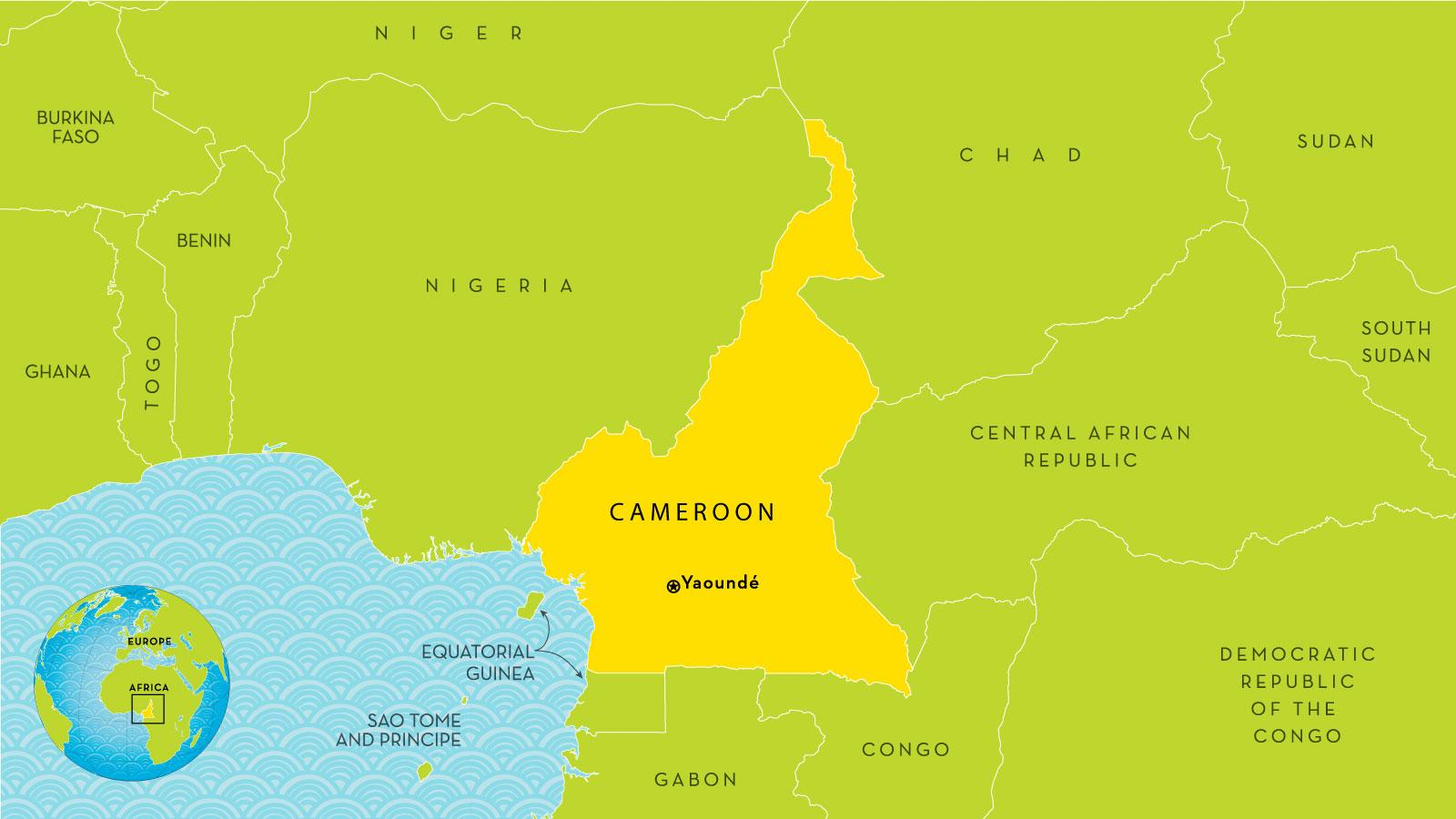 Cameroon country map - Map of Cameroon and surrounding countries ...