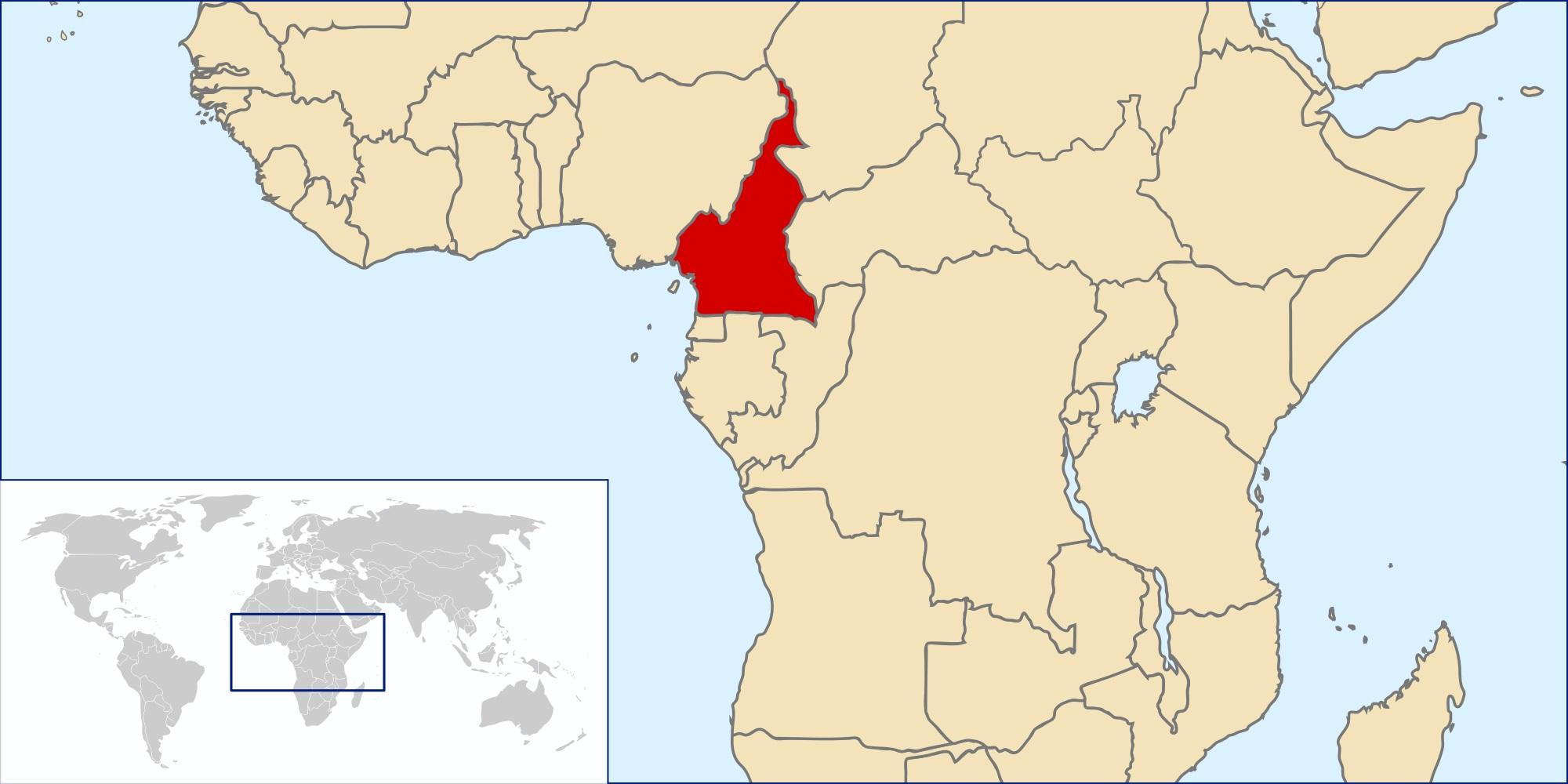 Cameroon on world map - Cameroon location on world map (Middle ...