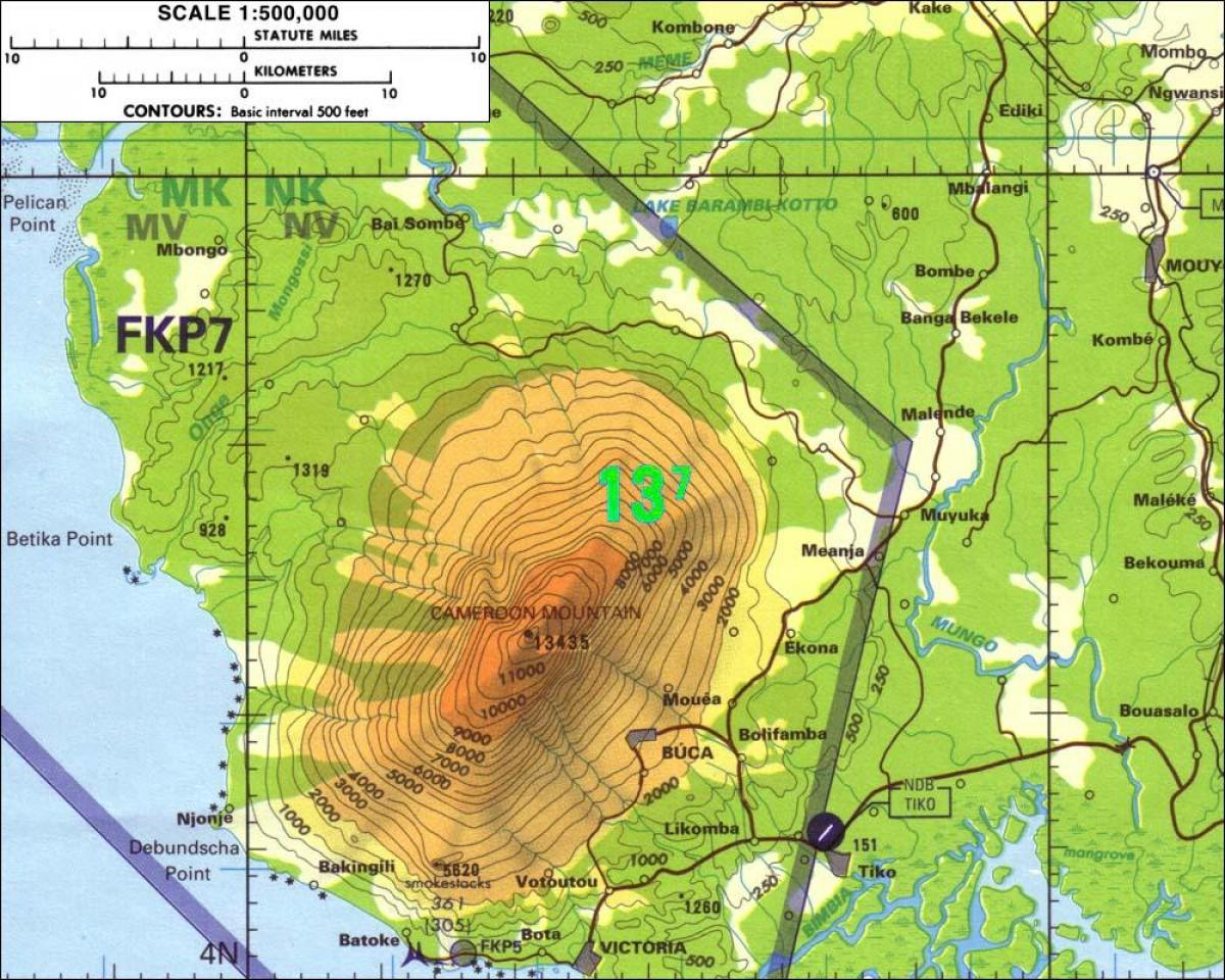 Cameroon mountains map